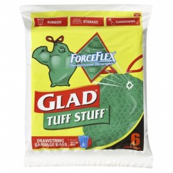 GLAD TUFF STUFF DRAWSTRING GARBAGE BAGS 56L BINS