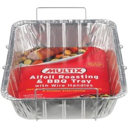 ALFOIL ROAST TRAY WITH WIRE HANDLES MED 1PK