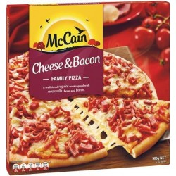 CHEESE AND BACON PIZZA 500GM