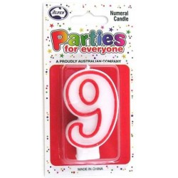 NUMERAL 9 CANDLES 1PK