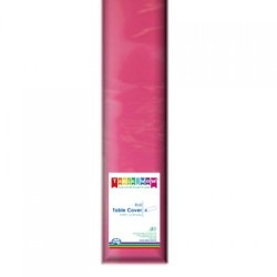 MAGENTA PLASTIC TABLE COVER ROLL 1EA