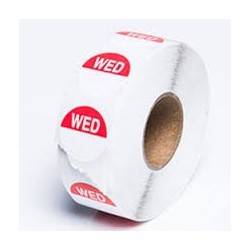 WEDNESDAY 24MM ROUND REMOVABLE LABELS 1000'S
