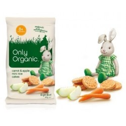 ONLY ORGANIC BABY RICE CAKES CARROT/APPLE 40GM