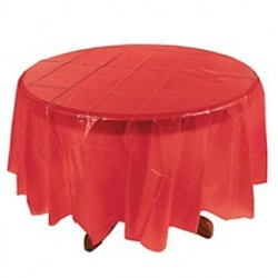 RED ROUND PLASTIC TABLE COVER 1EA