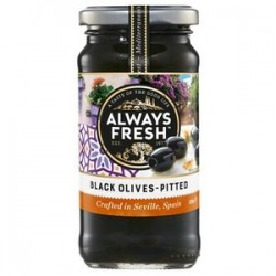 BLACK PITTED OLIVES 220GM