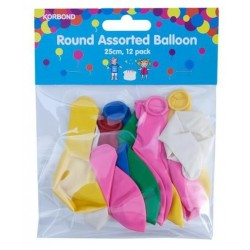 BALLOONS ROUND ASSORTED 12PK