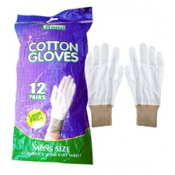 WHITE COTTON GLOVES LARGE 12'S