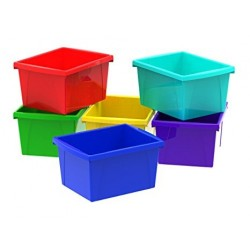 BINS STORAGE ASSORTED COLOURS SIZE 6 6PK