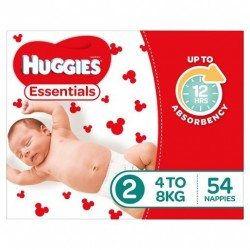 ESSENTIALS INFANT SIZE 2 NAPPIES 4-8KG 54PK