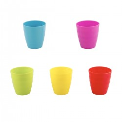 COLOURED PLASTIC RE-USABLE CUPS 5PK