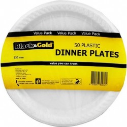 PLASTIC DINNER PLATES 230MM 50S