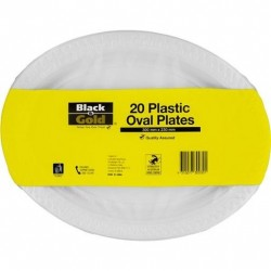 PLASTIC OVAL PLATES 300MM 20S