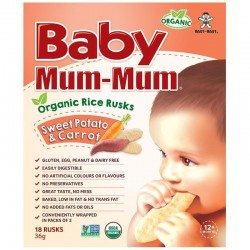 BABY MUM MUM ORGANIC RICE RUSKS SWEET POTATO AND CARROT 18PK 36GM