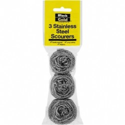STAINLESS STEEL SCOURERS 3PK