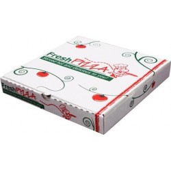PIZZA BOX PRINTED WHITE 11 INCH 50S