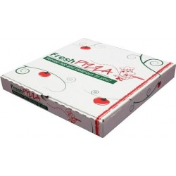 WHITE PRINTED PIZZA BOX 13IN 50S