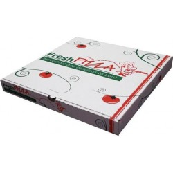 WHITE PRINTED PIZZA BOX 15IN 50S