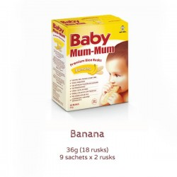 BABY MUM MUM RICE RUSKS BANANA 18PK 36GM