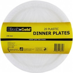 PLASTIC DINNER PLATES 230MM 20S