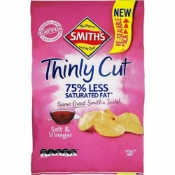 SALT AND VINEGAR THINLY POTATO CHIPS 175GM