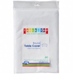 WHITE PLASTIC ROUND TABLE COVER 1EA