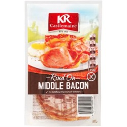 MIDDLE BACON RASHERS RIND ON 250GM