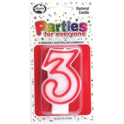 NUMERAL 3 CANDLES 1PK
