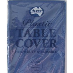 BLUE ROUND PLASTIC TABLE COVER 1EA