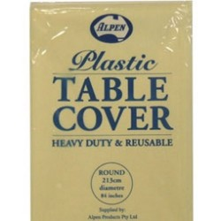 IVORY ROUND PLASTIC TABLE COVER 1EA