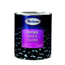 OLIVES BLACK PITTED 3KG A10
