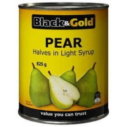 PEAR HALVES IN LIGHT SYRUP 825GM